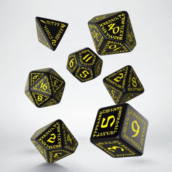 Set Dados Runicos Negro-amarilo