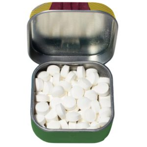 open tin and peppermints