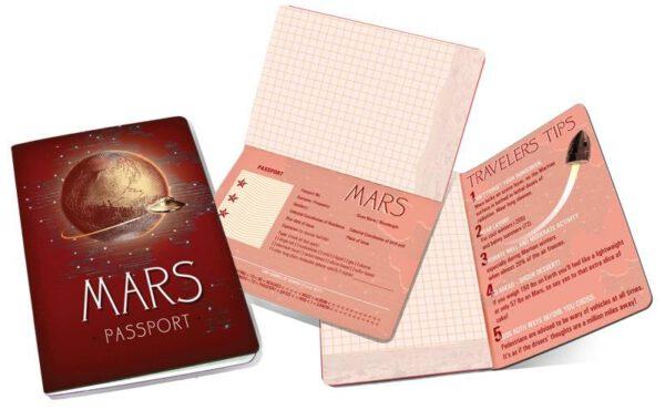 Cuaderno Mars Passport Notebook abierto en varias páginas