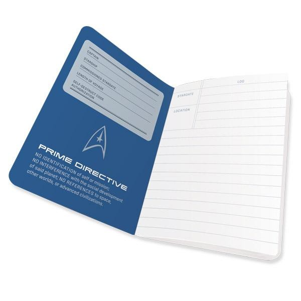 Cuaderno Star Trek Captain's Log Notebook abierto página 1