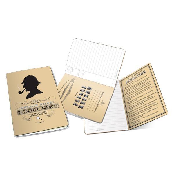Cuaderno Sherlock Holmes Notebook abierto mostrando páginas interiores