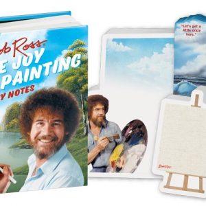 bob ross sticky notes contenido del pack: distintas formas de stickers, cuadros, paisajes...