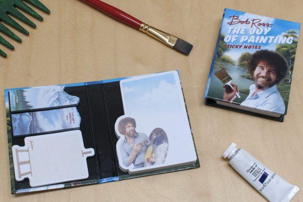 bob ross sticky notes sugerencia de presentación con pincel y pintura