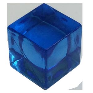 cubo transparente azul