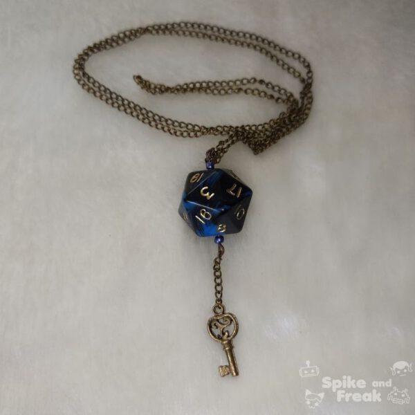 Colgante dado cadena D20 azul-negro