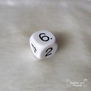 Dado básico blanco D6 caras con números