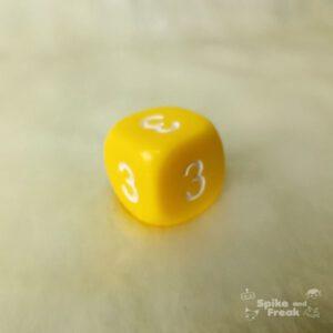 Dado rareza D6 amarillo todas las caras 3